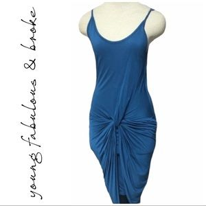 Young Fabulous Broke Dress Teal Bodycon Knot XS